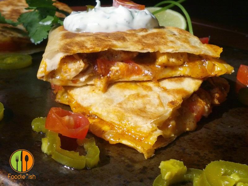 Easy Cheesy Chicken Quesadilla with Cilantro Lime Sour Cream