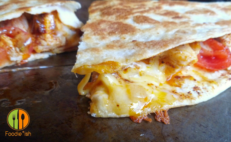 Easy Cheesy Chicken Quesadilla with Cilantro Lime Sour Cream