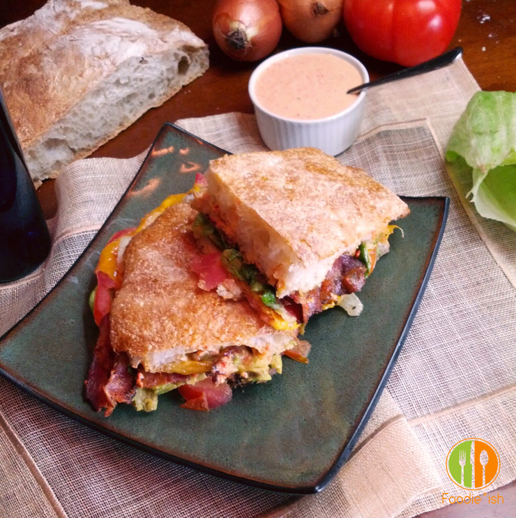 BLT melt with avocado and roasted garlic-red pepper aioli