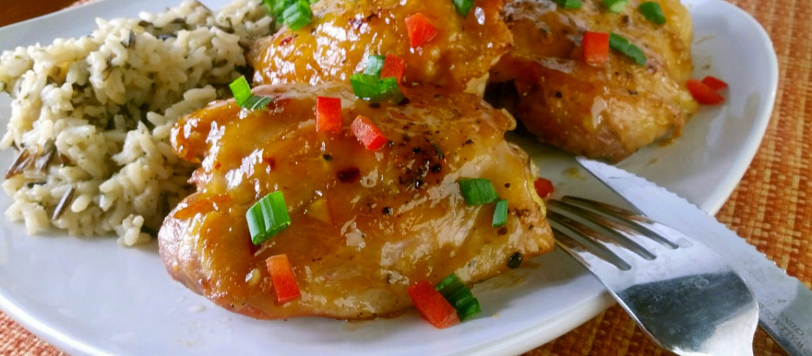 Super yummy, super easy citrus chicken thighs. Tasty enough for company, easy enough for after-work.