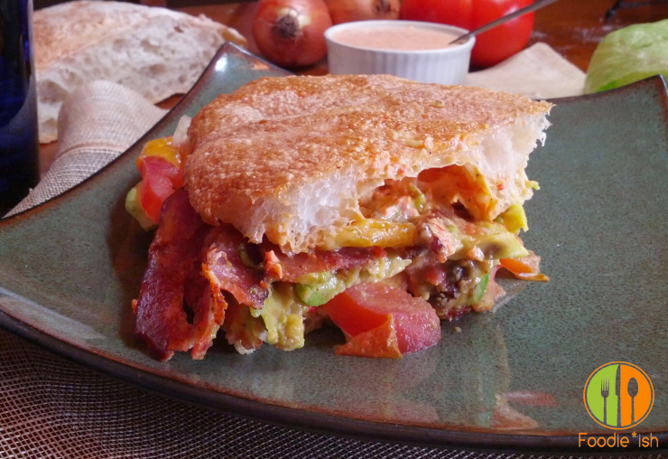 avocado BLT on ciabatta with roasted red pepper aioli