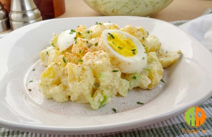 Creamy, tangy potato salad with capers and celery