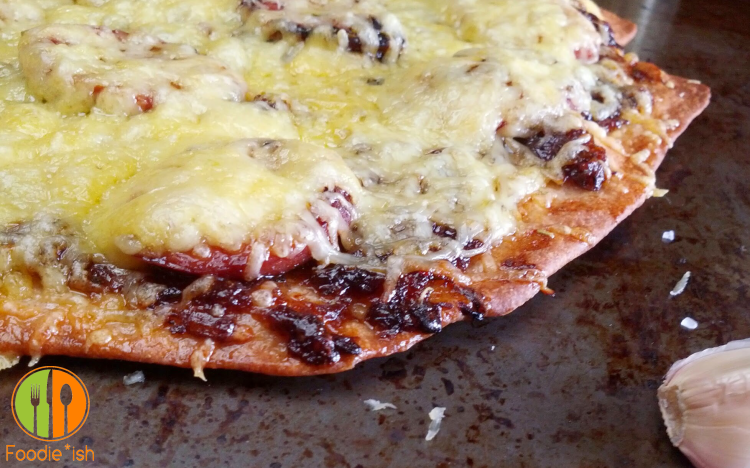 smoked sausage and gouda pizza with apricot and caramelized onion jam