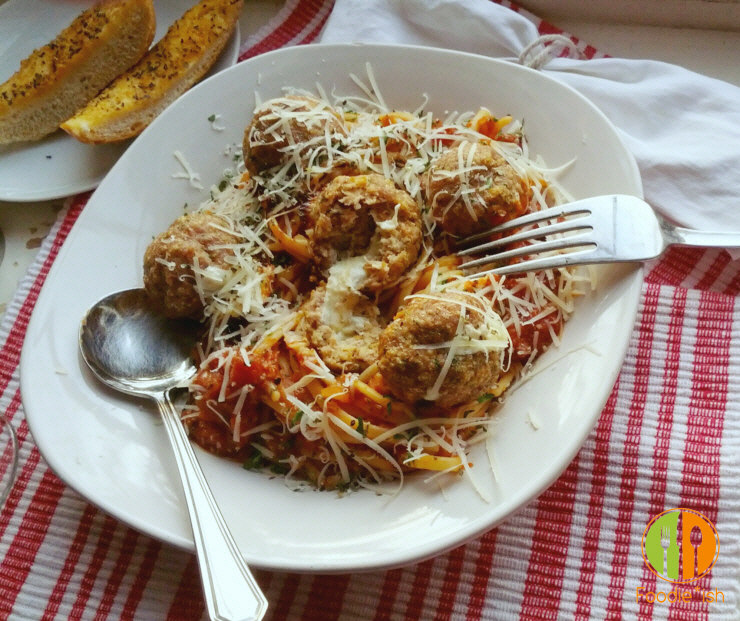 Super yummy mozzarella stuffed meatballs. Freeze them for a quick meal later!