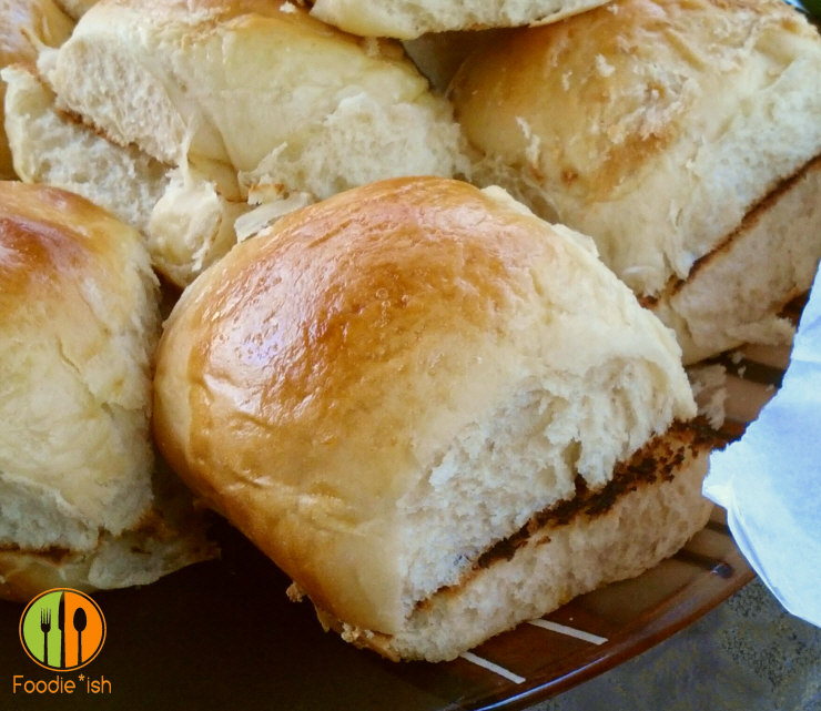 Sweet orange sandwich buns... kind of like Hawaiian rolls, but with a kick of orange. Perfect for pulled pork sandwiches!