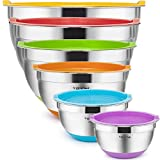Mixing Bowls with Airtight Lids, 6 piece Stainless Steel Metal Bowls by Umite Chef, Measurement Marks & Colorful Non-Slip Bottoms Size 7, 3.5, 2.5, 2.0,1.5, 1QT, Great for Mixing & Serving
