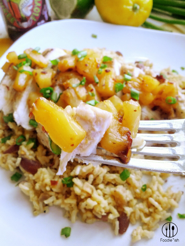 Pineapple adobo chicken with orange-almond rice recipe