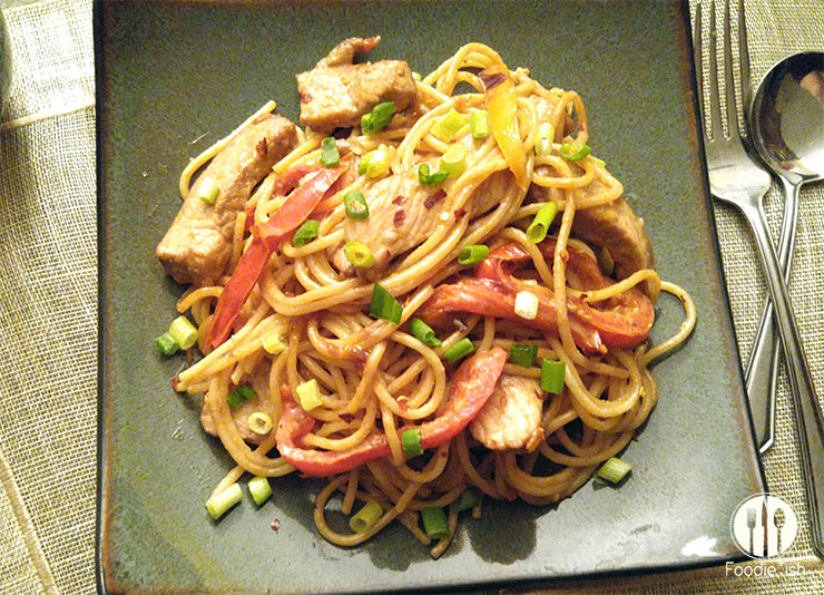 Peanut Pork with Peppers (and Pasta)