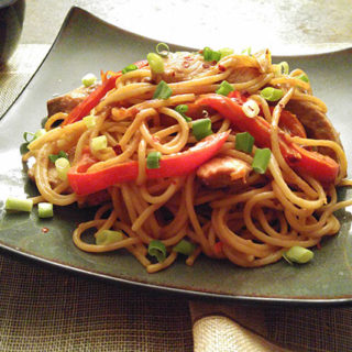 Peanut Pepper Pork with Noodles